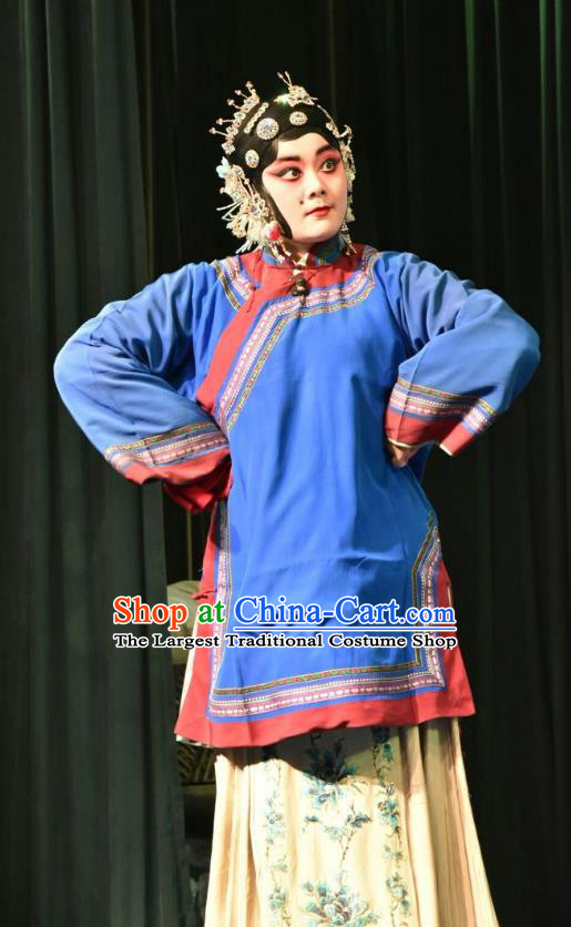 Chinese Jin Opera Country Woman Garment Costumes and Headdress Zhao Jintang Traditional Shanxi Opera Young Mistress Apparels Sister in Law Dress