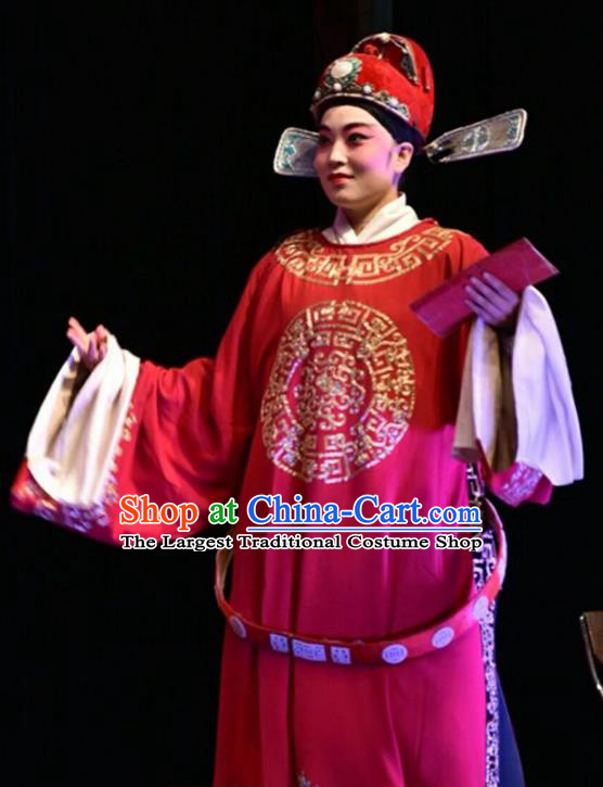 Yi Pu Zhong Hun Chinese Shanxi Opera Xiaosheng Apparels Costumes and Headpieces Traditional Jin Opera Young Male Garment Minister Clothing