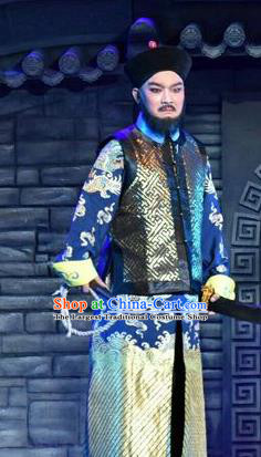 Lian Li Yu Chenglong Chinese Shanxi Opera Commander Apparels Costumes and Headpieces Traditional Jin Opera Martial Male Garment Imperial Bodyguard Clothing