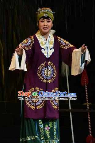 Chinese Jin Opera Elderly Female Garment Costumes and Headdress Mulan Joins the Army Traditional Shanxi Opera Dame Apparels Laodan Dress