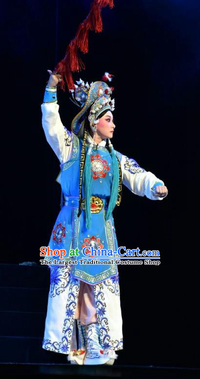 Mulan Joins the Army Chinese Shanxi Opera Martial Male Apparels Costumes and Headpieces Traditional Jin Opera Soldier Garment Swordsman Clothing