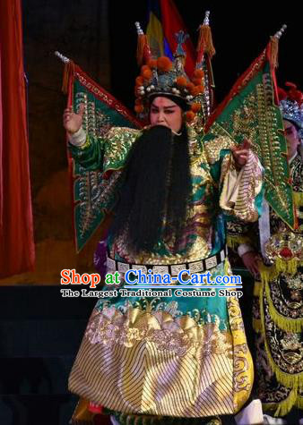 Mulan Joins the Army Chinese Shanxi Opera General Green Kao Apparels Costumes and Headpieces Traditional Jin Opera Marshal He Garment Clothing with Flags