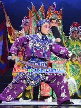 Mulan Joins the Army Chinese Shanxi Opera Wusheng Apparels Costumes and Headpieces Traditional Jin Opera Takefu Garment Soldier Purple Clothing