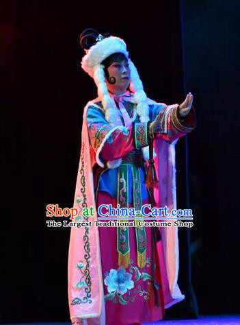 Chinese Jin Opera Uighur Princess Garment Costumes and Headdress Fenyang King Traditional Shanxi Opera Young Female Apparels Actress Dress
