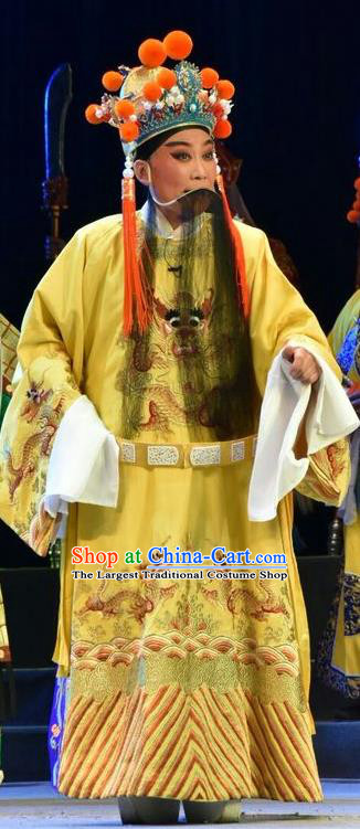 Fenyang King Chinese Shanxi Opera Tang Dynasty Emperor Apparels Costumes and Headpieces Traditional Jin Opera Laosheng Garment Monarch Clothing