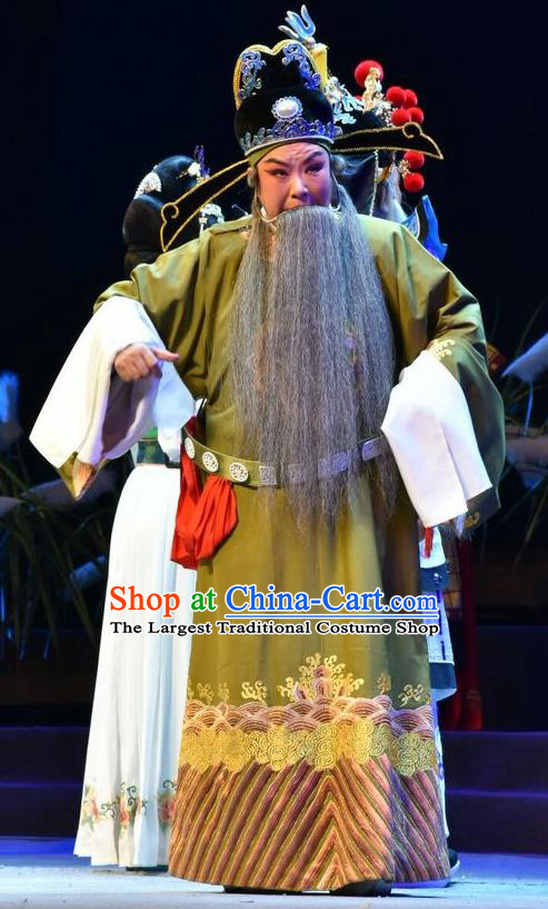 Fenyang King Chinese Shanxi Opera Laosheng Apparels Costumes and Headpieces Traditional Jin Opera Elderly Male Garment Tang Dynasty Minister Clothing