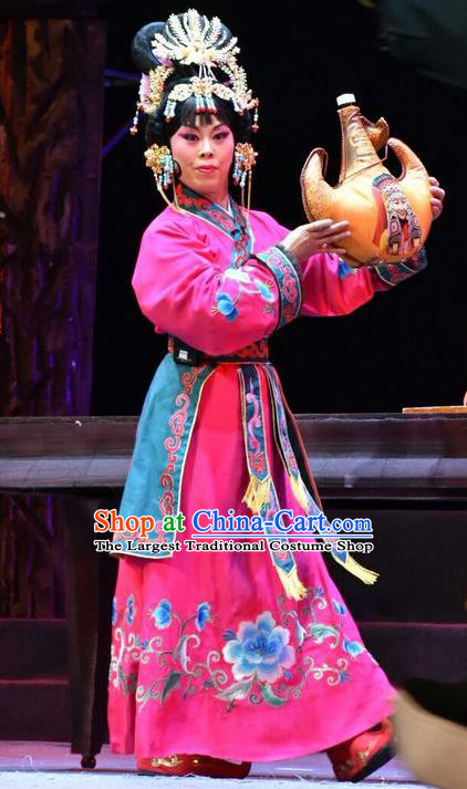 Chinese Jin Opera Xiaodan Garment Costumes and Headdress Fenyang King Traditional Shanxi Opera Servant Girl Apparels Maid Lady Rosy Dress