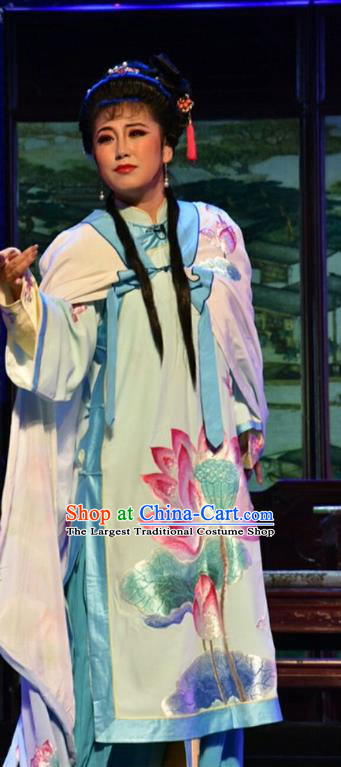 Chinese Jin Opera Hua Tan Garment Costumes and Headdress He Qing Hai Yan Traditional Shanxi Opera Young Lady Apparels Actress Dress