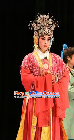 Chinese Jin Opera Young Mistress Garment Costumes and Headdress Tears in Suzhou Traditional Shanxi Opera Madam Jiang Suqin Apparels Actress Red Dress