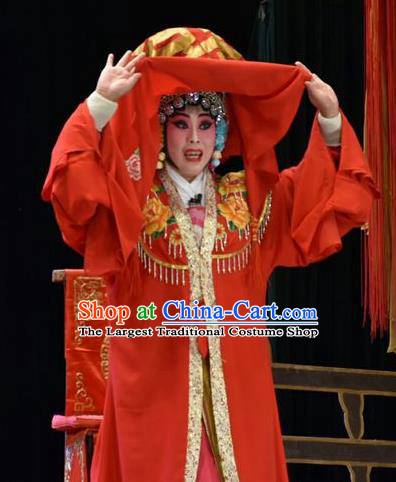 Chinese Jin Opera Bride Garment Costumes and Headdress Tears in Suzhou Traditional Shanxi Opera Actress Apparels Young Mistress Jiang Suqin Dress