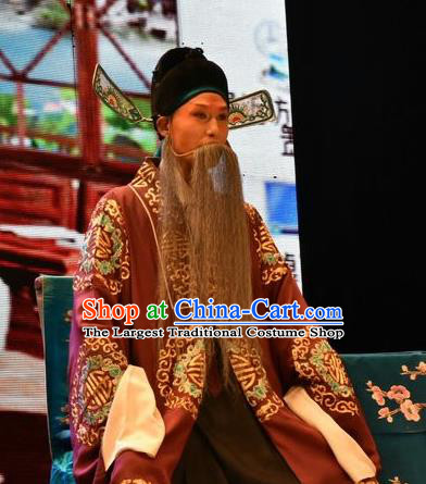 Tears in Suzhou Chinese Shanxi Opera Landlord Apparels Costumes and Headpieces Traditional Jin Opera Elderly Male Garment Magistrate Clothing