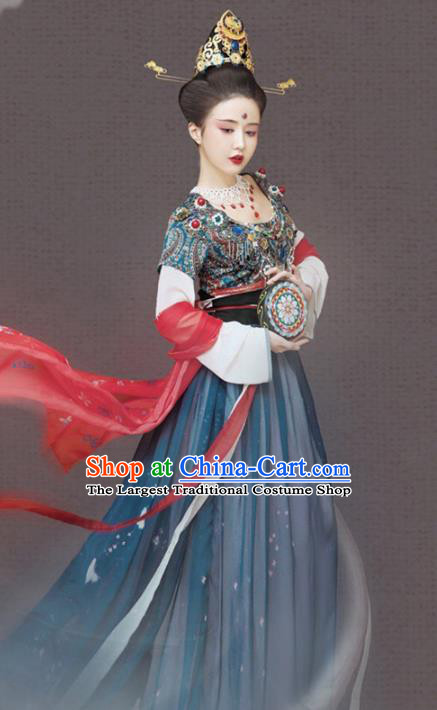 Chinese Drama Ancient Dunhuang Apsaras Hanfu Dress Apparels Traditional Tang Dynasty Dance Lady Historical Costumes and Headwear Complete Set