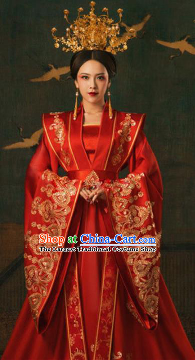 Chinese Ancient Imperial Empress Red Hanfu Dress Apparels Traditional Tang Dynasty Royal Queen Historical Costumes and Headdress for Women
