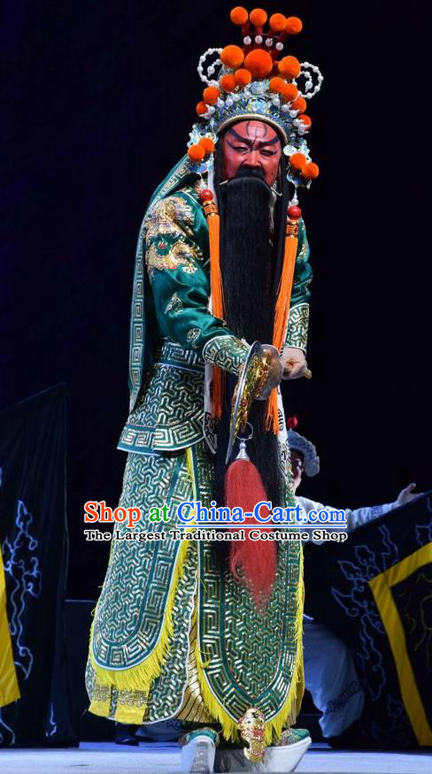 Guan Gong Chinese Shanxi Opera Martial Male Guan Yu Apparels Costumes and Headpieces Traditional Jin Opera General Garment Painted Role Green Armor Clothing