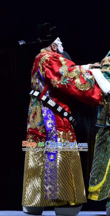 Guan Gong Chinese Shanxi Opera Prime Minister Cao Cao Apparels Costumes and Headpieces Traditional Jin Opera Jing Role Garment Elderly Male Clothing