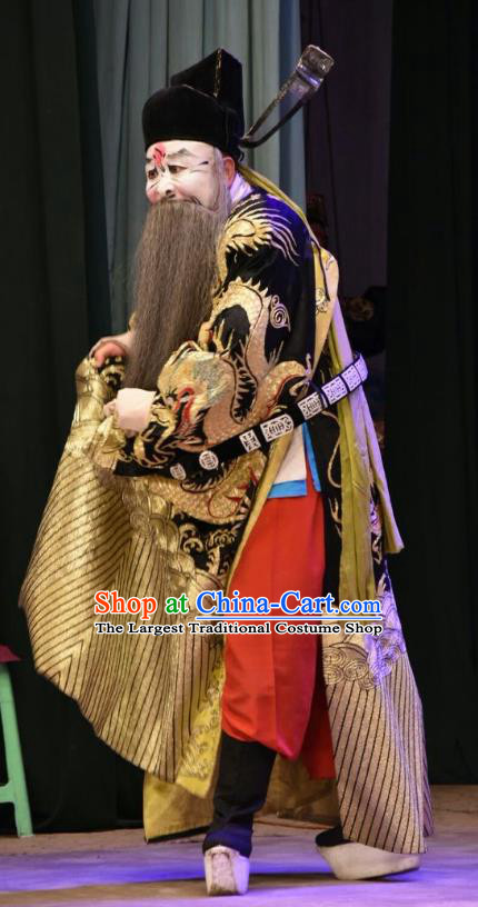 Huang Bi Gong Chinese Shanxi Opera Elderly Male Apparels Costumes and Headpieces Traditional Jin Opera Laosheng Garment Treacherous Official Clothing