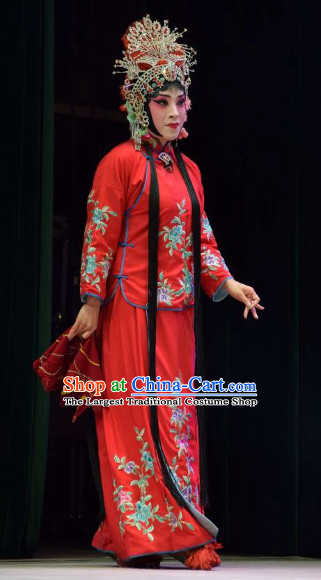 Chinese Jin Opera Hua Tan Garment Costumes and Headdress Xi Rong Gui Traditional Shanxi Opera Actress Apparels Diva Cui Xiuying Red Dress