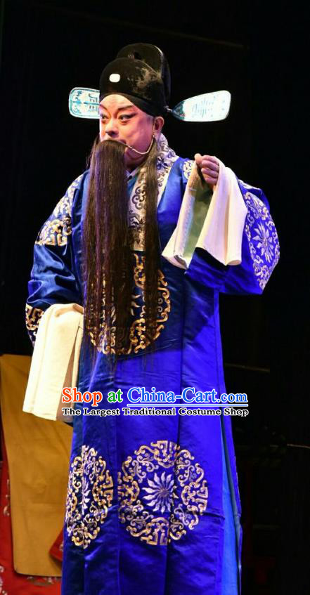 The Lotus Lantern Chinese Shanxi Opera Laosheng Apparels Costumes and Headpieces Traditional Jin Opera Elderly Male Garment Ministry Councillor Liu Yanchang Clothing
