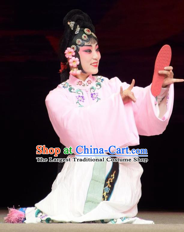 Chinese Jin Opera Court Maid Garment Costumes and Headdress Big Feet Empress Traditional Shanxi Opera Xiaodan Apparels Servant Lady Pink Dress