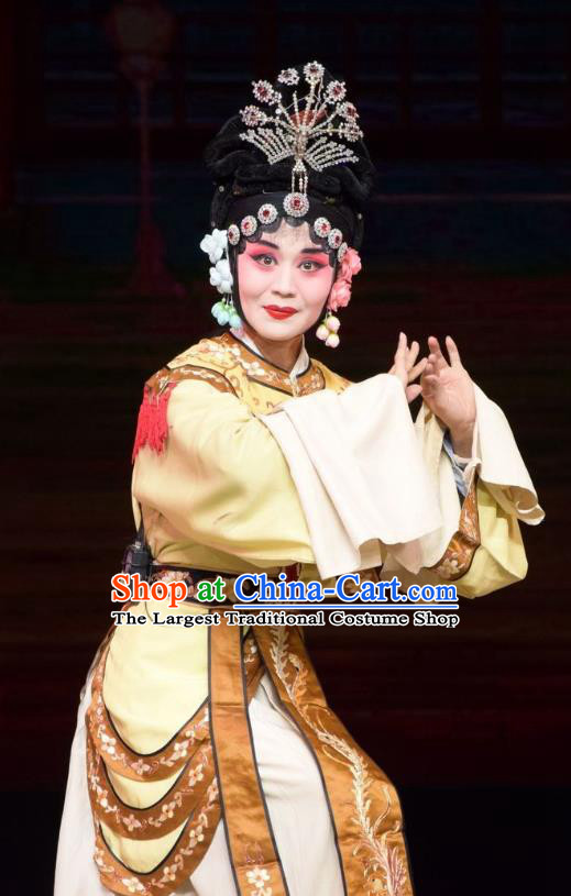 Chinese Jin Opera Court Female Garment Costumes and Headdress Big Feet Empress Traditional Shanxi Opera Royal Queen Apparels Diva Ma Xiuying Dress