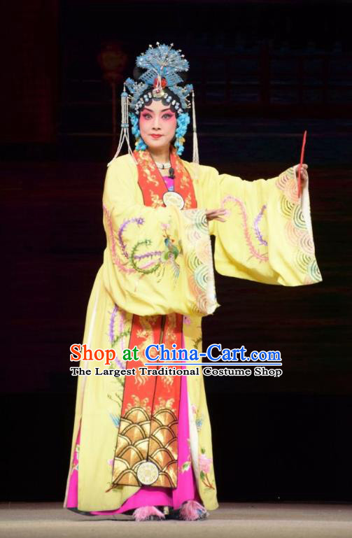 Chinese Jin Opera Diva Ma Xiuying Garment Costumes and Headdress Big Feet Empress Traditional Shanxi Opera Royal Queen Apparels Court Female Dress
