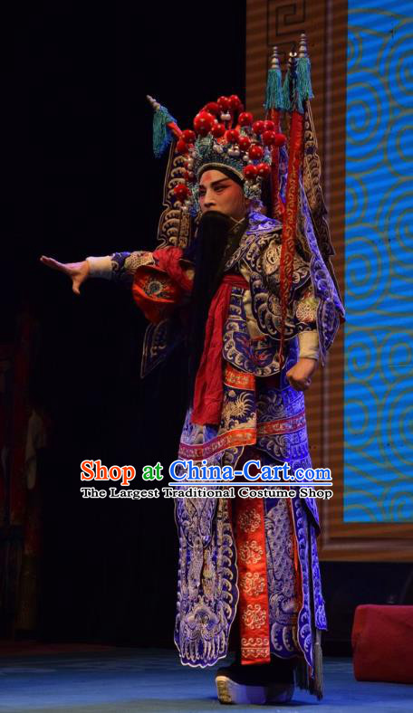 Shou Jiang Wei Chinese Shanxi Opera General Kao Apparels Costumes and Headpieces Traditional Jin Opera Shogun Garment Blue Armor Clothing with Flags