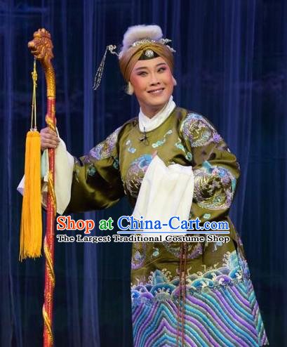 Chinese Jin Opera Laodan Garment Costumes and Headdress Mu Guiying Command Traditional Shanxi Opera Dowager Countess Apparels Elderly Woman Dress