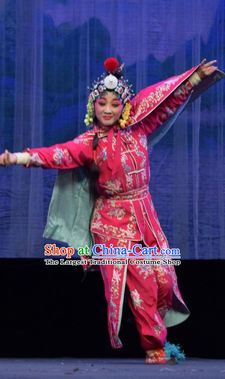 Chinese Jin Opera Martial Lady Garment Costumes and Headdress Mu Guiying Command Traditional Shanxi Opera Actress Apparels Swordswoman Yang Jinhua Dress