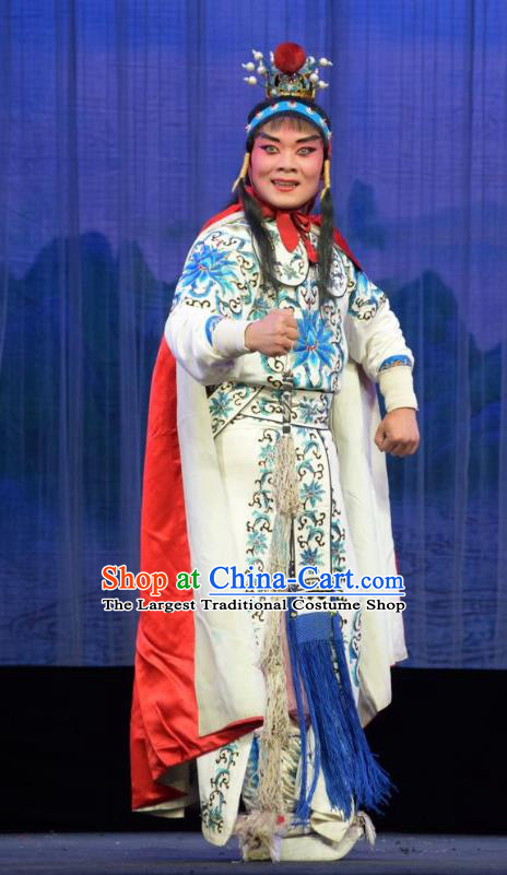 Mu Guiying Command Chinese Shanxi Opera Martial Male Apparels Costumes and Headpieces Traditional Jin Opera Wusheng Garment Yang Wenguang Clothing