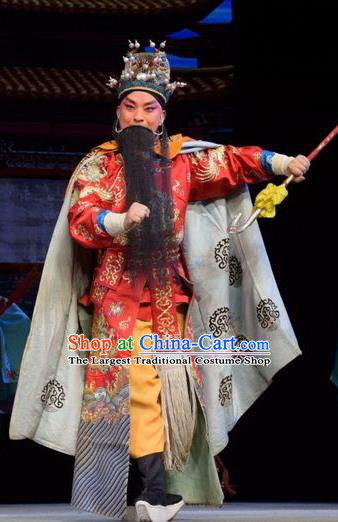 Big Feet Empress Chinese Shanxi Opera Lord Red Apparels Costumes and Headpieces Traditional Jin Opera Emperor Zhu Yuanzhang Garment Imperator Clothing