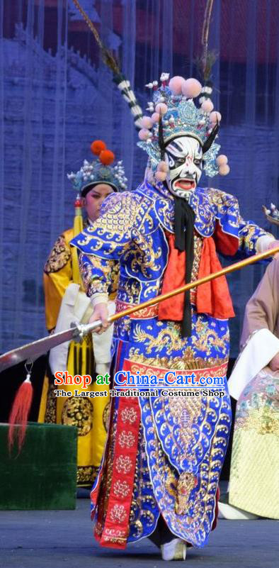 Mu Guiying Command Chinese Shanxi Opera General Wang Lun Kao Apparels Costumes and Headpieces Traditional Jin Opera Jing Role Garment Armor Clothing with Flags