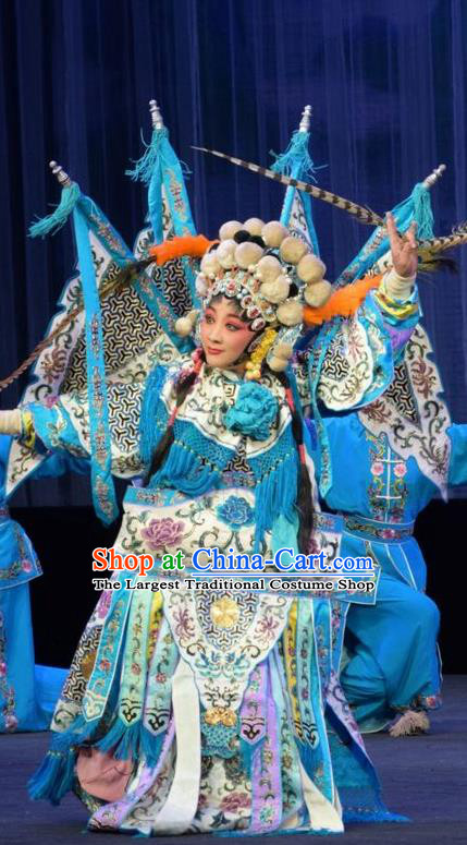 Chinese Jin Opera Martial Female Garment Costumes and Headdress Mu Guiying Command Traditional Shanxi Opera Blues Apparels Tao Ma Tan Yang Jinhua Dress with Flags