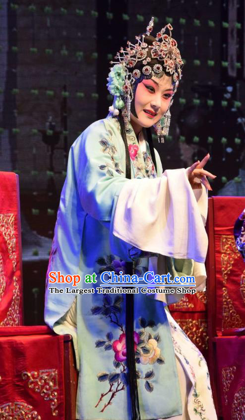 Chinese Jin Opera Actress Lu Fengying Garment Costumes and Headdress The Butterfly Chalice Traditional Shanxi Opera Hua Tan Apparels Rich Lady Dress
