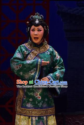Chinese Jin Opera Elderly Female Liang Huimei Garment Costumes and Headdress The Legend of Jin E Traditional Shanxi Opera Dame Apparels Rich Woman Dress