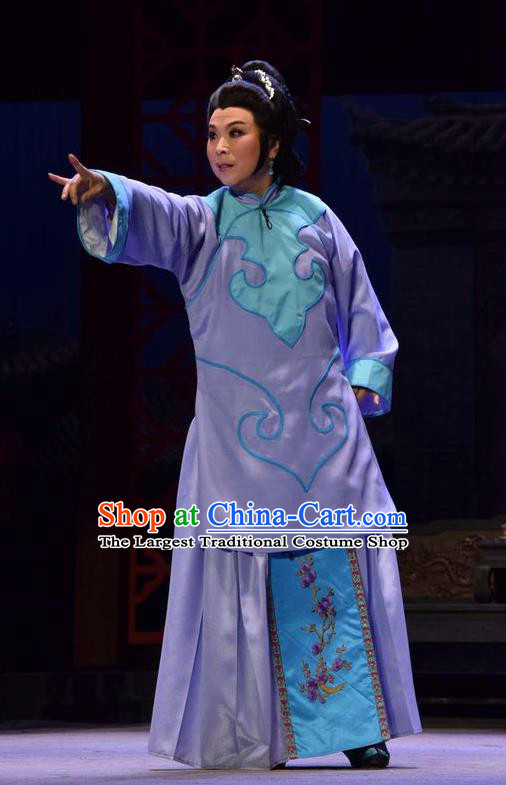 Chinese Jin Opera Elderly Female Garment Costumes and Headdress The Legend of Jin E Traditional Shanxi Opera Diva Apparels Maid Purple Dress