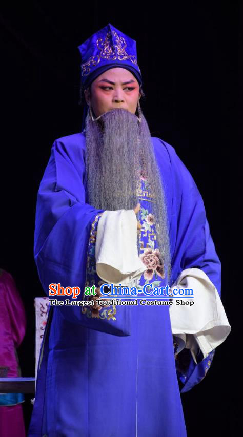 Legend of Leper Chinese Shanxi Opera Landlord Apparels Costumes and Headpieces Traditional Jin Opera Elderly Male Garment Ministry Councillor Clothing