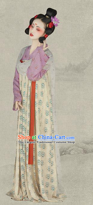 Chinese Ancient Drama Court Maid Dress Traditional Hanfu Apparels Tang Dynasty Palace Lady Historical Costumes and Headpieces for Women