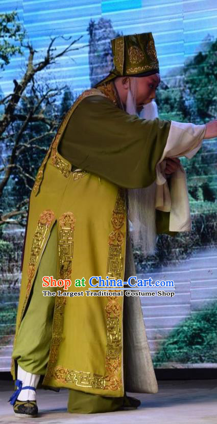 Legend of Leper Chinese Shanxi Opera Laosheng Apparels Costumes and Headpieces Traditional Jin Opera Elderly Male Garment Landlord Qiu Clothing