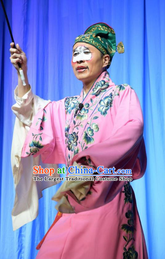 Legend of Leper Chinese Shanxi Opera Clown Apparels Costumes and Headpieces Traditional Jin Opera Chou Role Garment Figurant Clothing