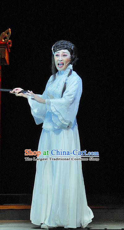 Chinese Jin Opera Hua Tan Garment Costumes and Headdress Red Lantern Traditional Shanxi Opera Young Female Apparels Song Lian White Dress