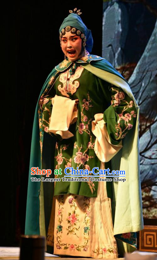 Chinese Jin Opera Young Female Garment Costumes and Headdress Shi Zi Jing Feng Traditional Shanxi Opera Actress Apparels Hua Tan Green Dress