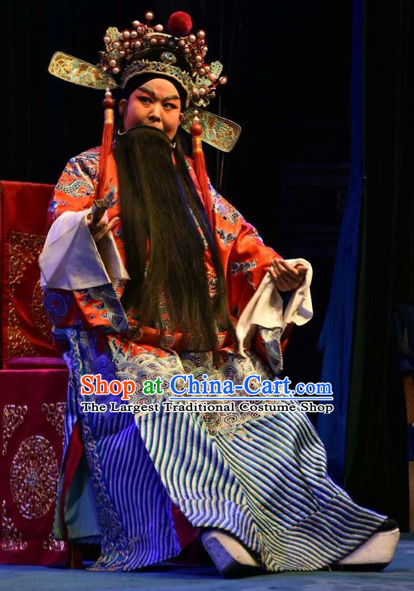 Ming Gong Duan Chinese Shanxi Opera Laosheng Apparels Costumes and Headpieces Traditional Jin Opera Elderly Male Garment Prince Chen Shimei Clothing