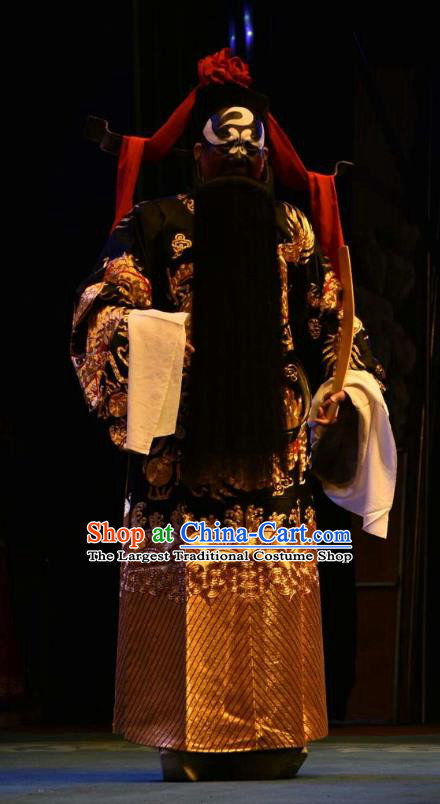 Ming Gong Duan Chinese Shanxi Opera Jing Apparels Costumes and Headpieces Traditional Jin Opera Painted Role Garment Minister Bao Zheng Clothing