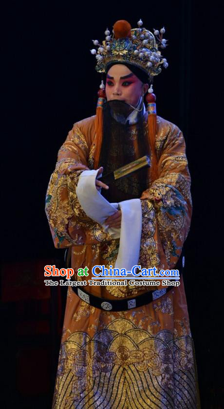 Wei Shui River Chinese Shanxi Opera King Ji Chang Apparels Costumes and Headpieces Traditional Jin Opera Elderly Male Garment Monarch Clothing