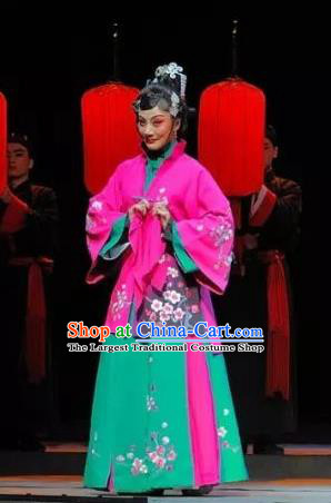 Chinese Jin Opera Rich Consort Garment Costumes and Headdress Red Lantern Traditional Shanxi Opera Actress Apparels Young Mistress Dress