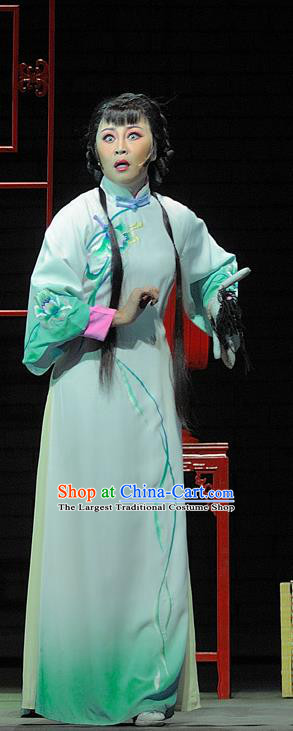 Chinese Jin Opera Diva Song Lian Garment Costumes and Headdress Red Lantern Traditional Shanxi Opera Actress Apparels Young Female Green Dress