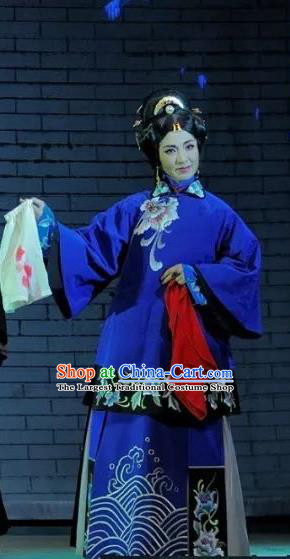 Chinese Jin Opera Young Woman Garment Costumes and Headdress Red Lantern Traditional Shanxi Opera Rich Concubine Apparels Blue Dress