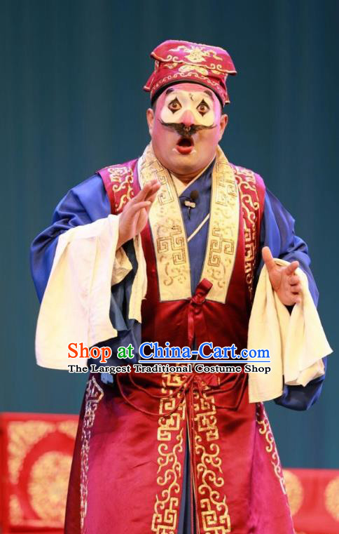 Story About A Wall Chinese Lu Opera Merchant Apparels Costumes and Headpieces Traditional Shandong Opera Clown Garment Zhang Daguai Clothing
