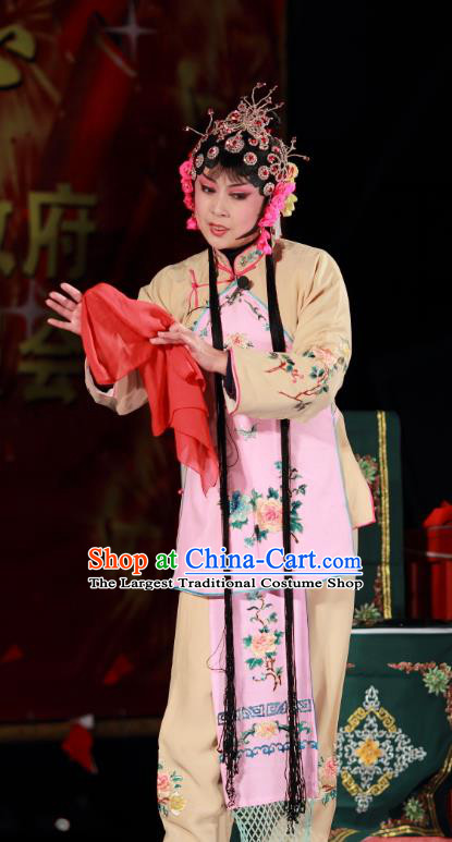 Chinese Shandong Opera Young Beauty Garment Costumes and Headdress Zi Mei Yi Jia Traditional Lu Opera Actress Apparels Diva Zhang Sumei Dress