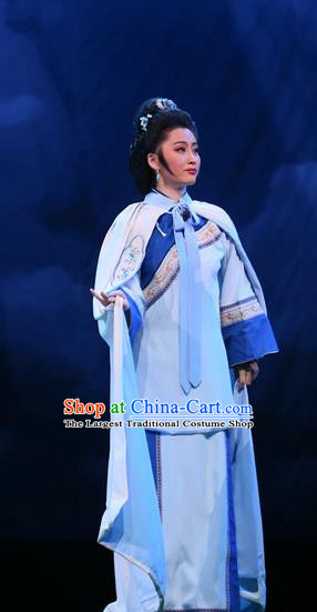 Chinese Shandong Opera Young Female Garment Costumes and Headdress You Bai Chuan Traditional Lu Opera Actress Apparels Mistress Dress